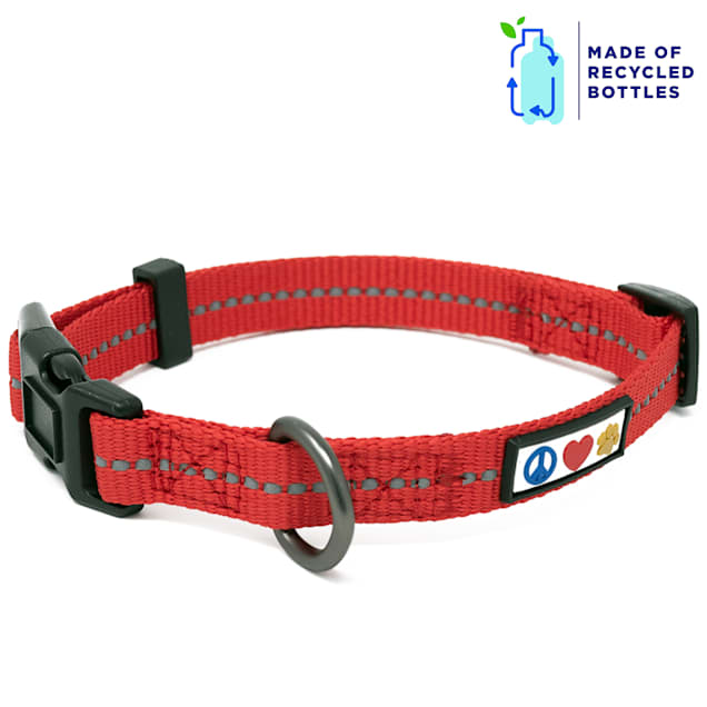 Pawtitas Red Recycled Reflective Dog Collar, X-Small - Carousel image #1