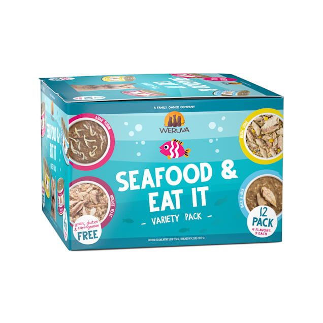 Weruva Classics Seafood & Eat It Variety Pack Wet Cat Food, 5.5 oz., Count of 12 - Carousel image #1
