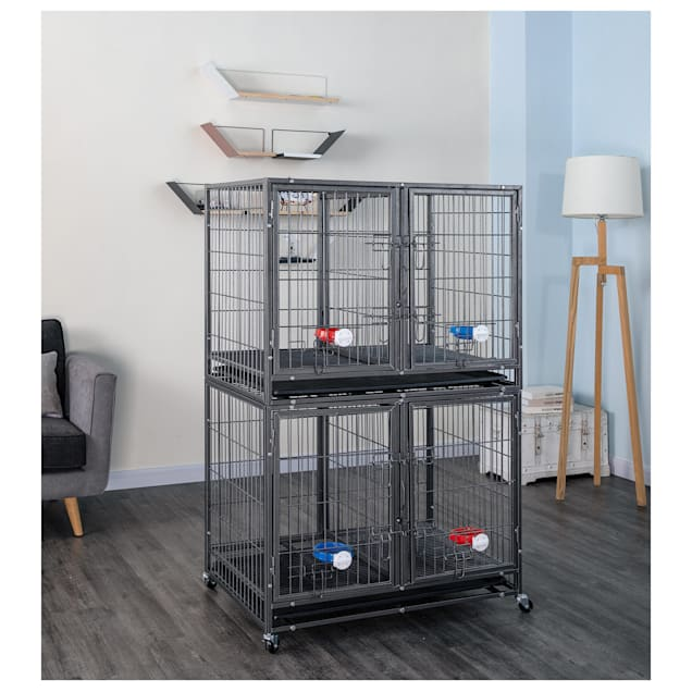 """Go Pet Club Gray Heavy Duty Stackable Dog Crate, 37"""" L X 25.5"""" W X 30.5"""" H - Carousel image #1"""
