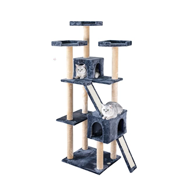 """Go Pet Club Gray Cat Tree House with Sisal Scratching Board, 71"""" H - Carousel image #1"""