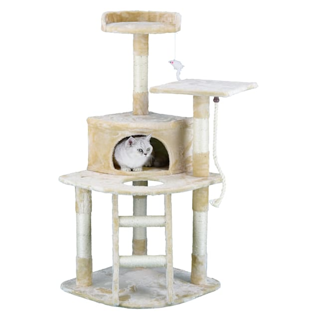 """Go Pet Club Beige Economical Cat Tree Condo with Sisal Covered Posts, 49"""" H - Carousel image #1"""