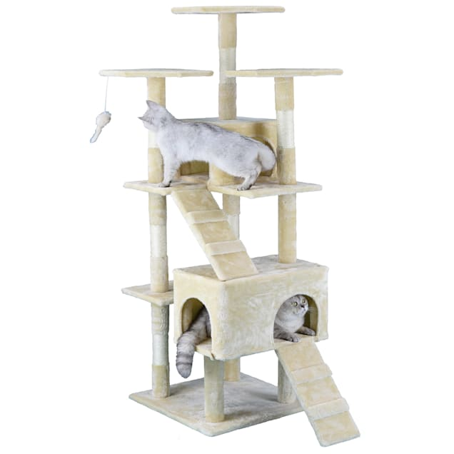 """Go Pet Club Beige Economical Cat Tree with Sisal Scratching Posts, 63"""" H - Carousel image #1"""