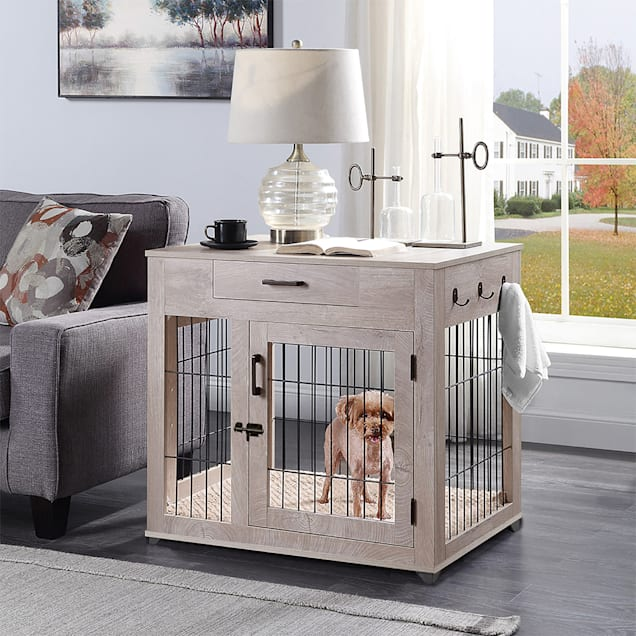 """UniPaws Crate Wooden End Table with Wire Dog Kennels with Drawer in Weathered Grey, 32"""" L X 23"""" W X 30"""" H - Carousel image #1"""