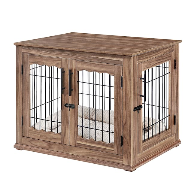 """UniPaws Crate Wooden End Table with Wire Dog Kennel with Bed in Walnut, 32"""" L X 23"""" W X 26.5"""" H - Carousel image #1"""