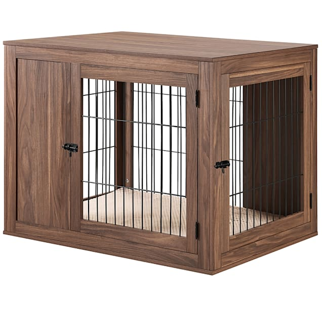 """UniPaws Wooden End Table Dog Crate in Walnut, 41"""" L X 28.5"""" W X 31"""" H - Carousel image #1"""