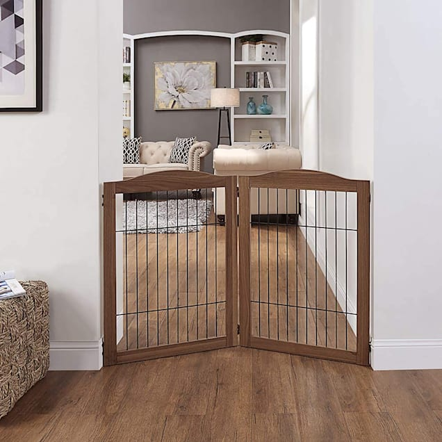 """UniPaws Wire 2 Panel Extension Kit Walnut Pet Gate, 43.94"""" L X 45"""" W X 31.5"""" H - Carousel image #1"""