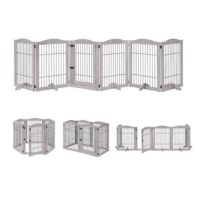 """UniPaws Wire 6 Panels Weathered Gray Pet Gate, 131.8"""" L X 131"""" W X 31.5"""" H - Carousel image #1"""