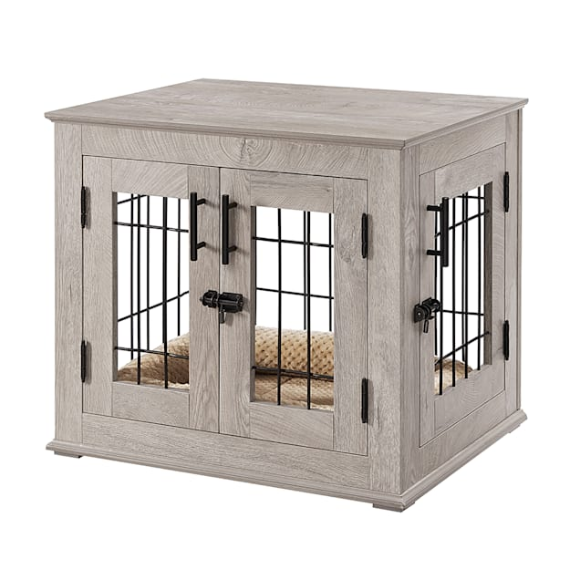 """UniPaws Crate Wooden End Table with Wire Dog Kennel with Bed in Weathered Gray, 26"""" L X 32"""" W X 23"""" H - Carousel image #1"""