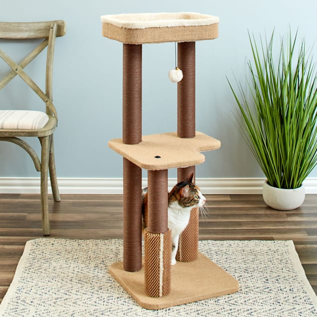 """Two by Two Beech Mid-Sized Complete Cat Tree, 15.7"""" L X 15.7"""" W X 39.6"""" H - Carousel image #1"""