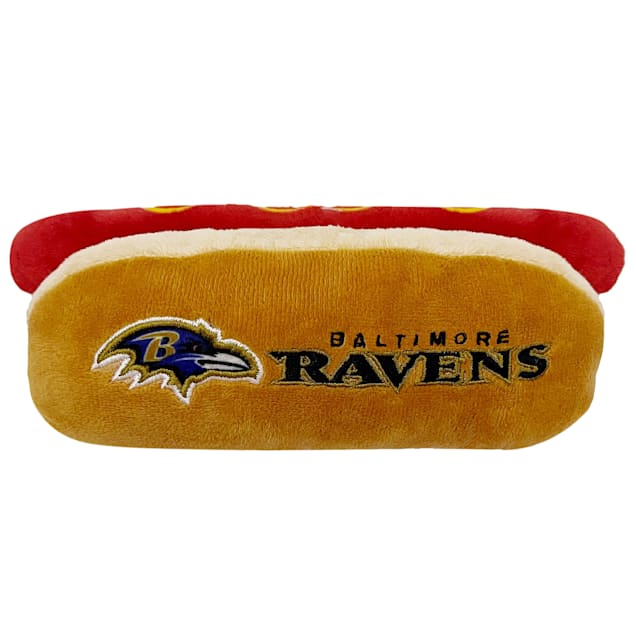 Pets First Baltimore Ravens Hot Dog Toy, Small - Carousel image #1