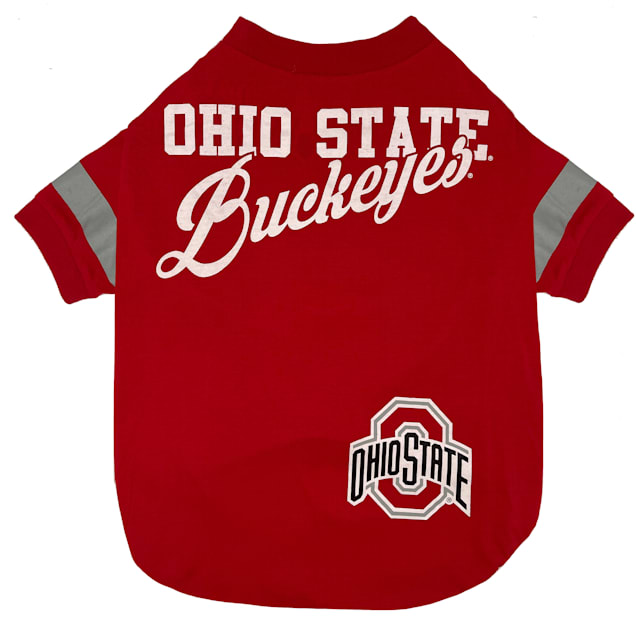 Pets First Ohio State Stripe Tee Shirts for Dogs, Small - Carousel image #1