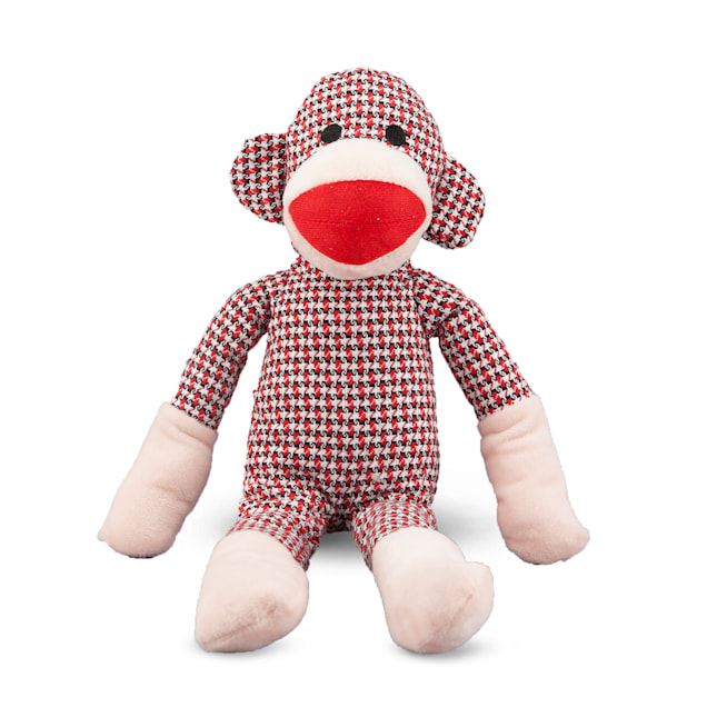 Nandog Pet Gear My BFF Collection Red Monkey Plush Dog Toy with Squeaker, Medium - Carousel image #1