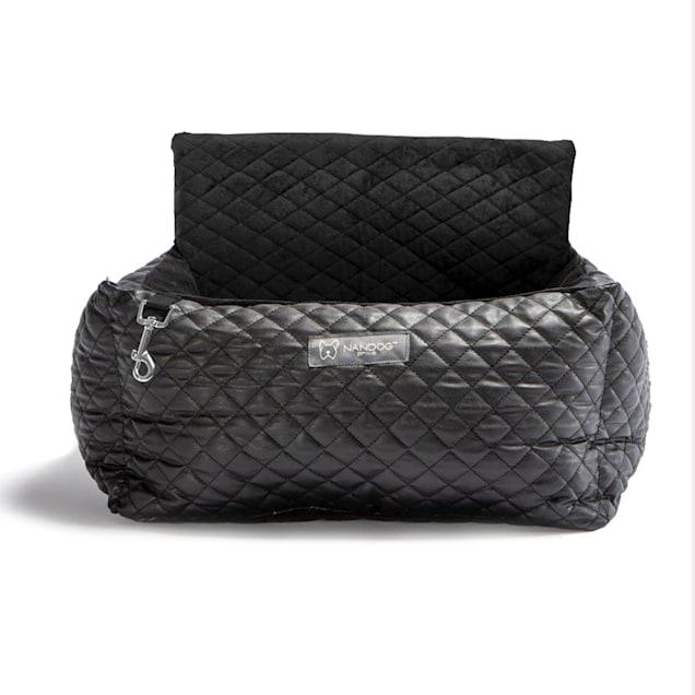 "Nandog Pet Gear Quilted Black Vegan Leather Dog Car Seat Bed, 15"" L X 13"" W X 7"" H - Carousel image #1"