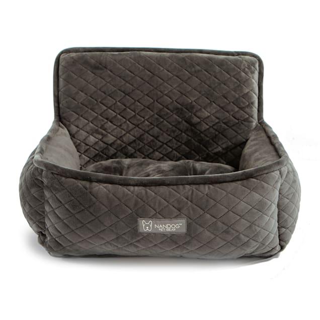"Nandog Pet Gear Quilted Dark Gray Micro-Plush Dog Car Seat Bed, 15"" L X 13"" W X 7"" H - Carousel image #1"
