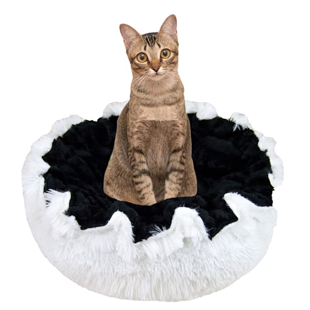 """Bessie and Barnie Ultra Plush Black Puma/Snow White Deluxe Shag Pet Lily Pod Bed, 24"""" L X 24"""" W X 4"""" H - Carousel image #1"""