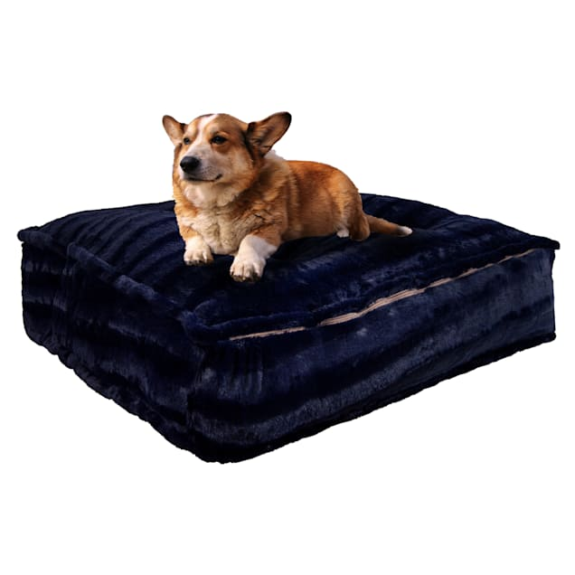 """Bessie and Barnie Midnight Blue Ultra Plush Faux Fur Luxury Shag Durable Sicilian Rectangle Pet Bed, 28"""" L X 24"""" W X 6"""" H - Carousel image #1"""