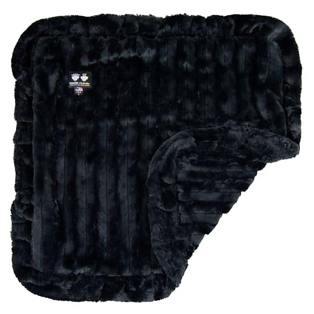 "Bessie and Barnie Black Puma Ultra Plush Faux Fur Pet Super Soft Reversible Blanket, 20"" L X 20"" W - Carousel image #1"