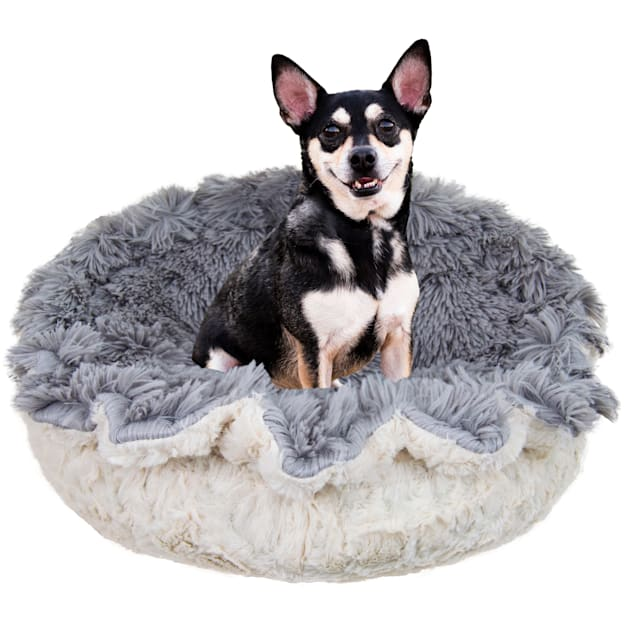 """Bessie and Barnie Ultra Plush Siberian Grey/Serenity Ivory Deluxe Shag Pet Lily Pod Bed, 24"""" L X 24"""" W X 4"""" H - Carousel image #1"""