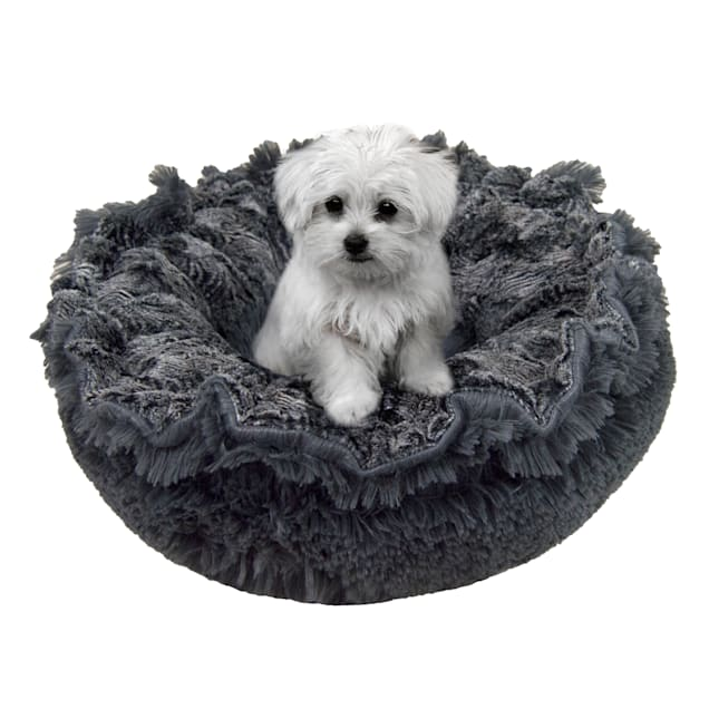 """Bessie and Barnie Ultra Plush Arctic Seal/Wolfhound Grey Deluxe Shag Pet Lily Pod Bed, 24"""" L X 24"""" W X 4"""" H - Carousel image #1"""