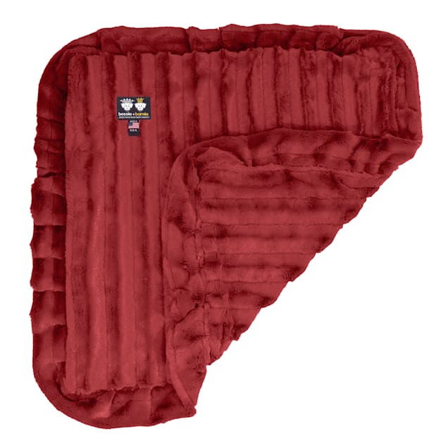 "Bessie and Barnie Short Shag Red Rabbit Ultra Plush Faux Fur Pet Super Soft Reversible Blanket, 20"" L X 20"" W - Carousel image #1"