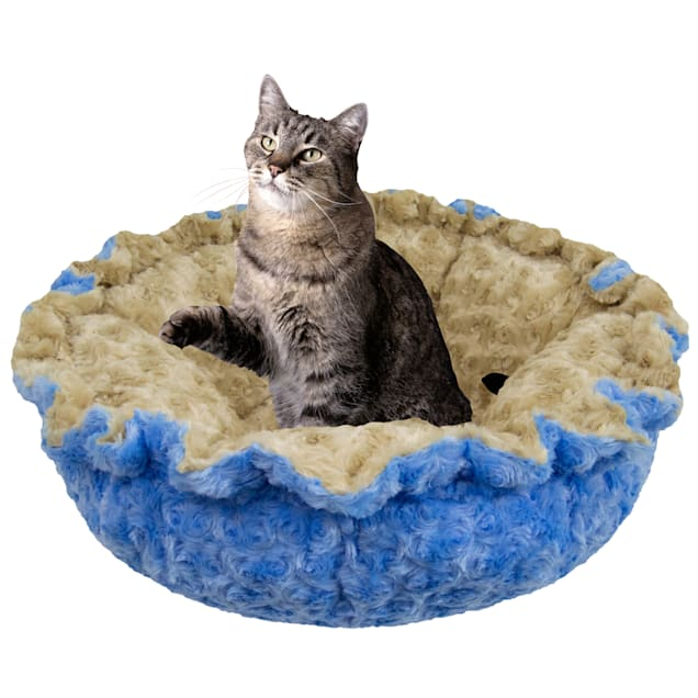 """Bessie and Barnie Ultra Plush Camel Rose/Blue Sky Luxury Deluxe Pet Cuddle Pod Bed, 30"""" L X 30"""" W X 5"""" H - Carousel image #1"""