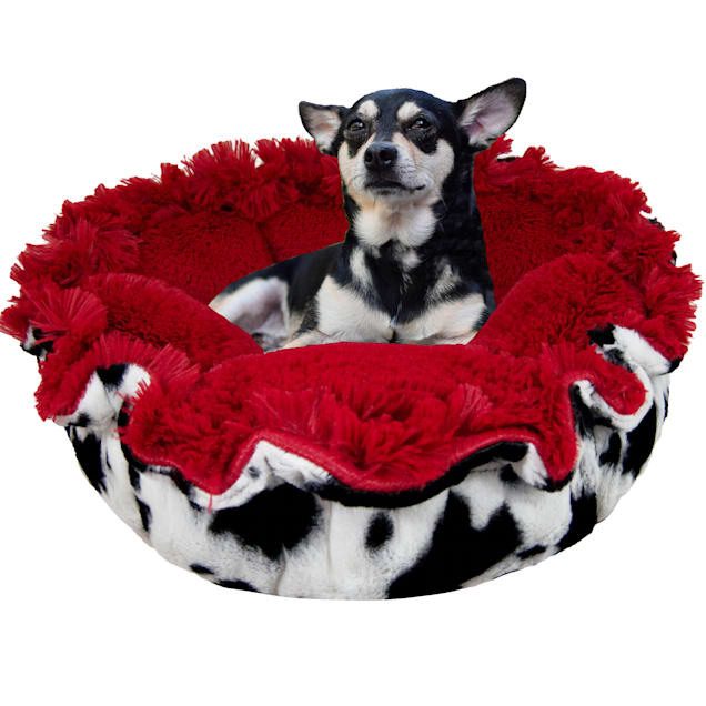 """Bessie and Barnie Ultra Plush Lisptick/Spotted Pony Luxury Deluxe Pet Cuddle Pod Bed, 30"""" L X 30"""" W X 5"""" H - Carousel image #1"""