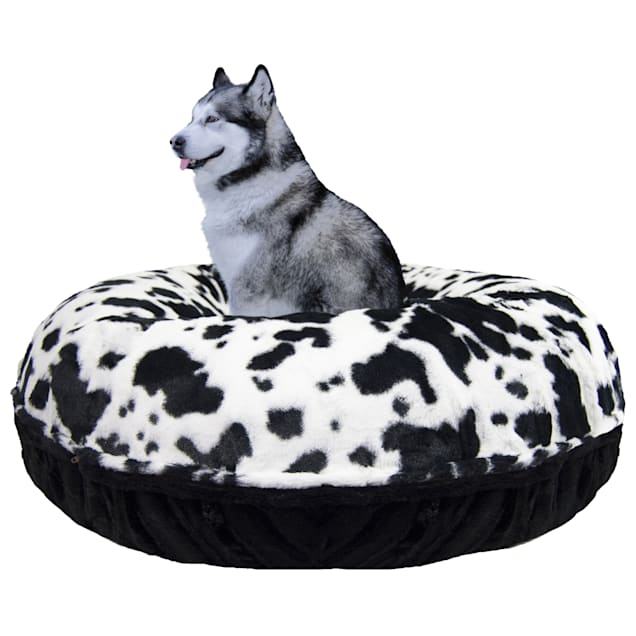 """Bessie and Barnie Signature Black Puma/Spotted Pony Luxury Extra Plush Faux Fur Bagel Pet Bed, 24"""" L X 24"""" W X 10"""" H - Carousel image #1"""