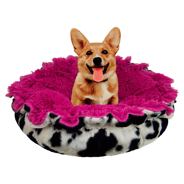 """Bessie and Barnie Ultra Plush Spotted Pony/Lollipop Deluxe Shag Pet Lily Pod Bed, 24"""" L X 24"""" W X 4"""" H - Carousel image #1"""