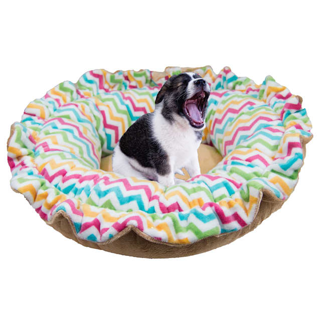 """Bessie and Barnie Ultra Plush Ocean Wave/Divine Caramel Deluxe Shag Pet Lily Pod Bed, 24"""" L X 24"""" W X 4"""" H - Carousel image #1"""