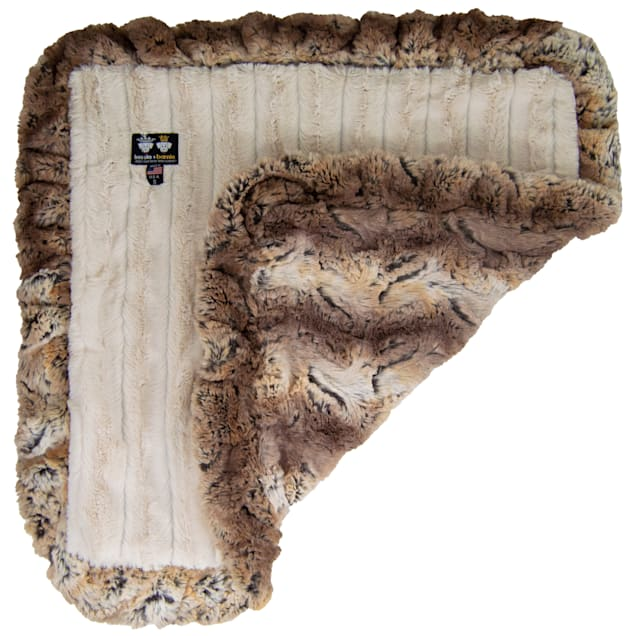 """Bessie and Barnie Simba/Natural Beauty Ultra Plush Faux Fur Pet Super Soft Reversible Blanket, 20"""" L X 20"""" W - Carousel image #1"""