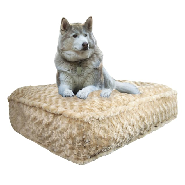 """Bessie and Barnie Camel Rose Ultra Plush Faux Fur Luxury Shag Durable Sicilian Rectangle Pet Bed, 28"""" L X 24"""" W X 6"""" H - Carousel image #1"""