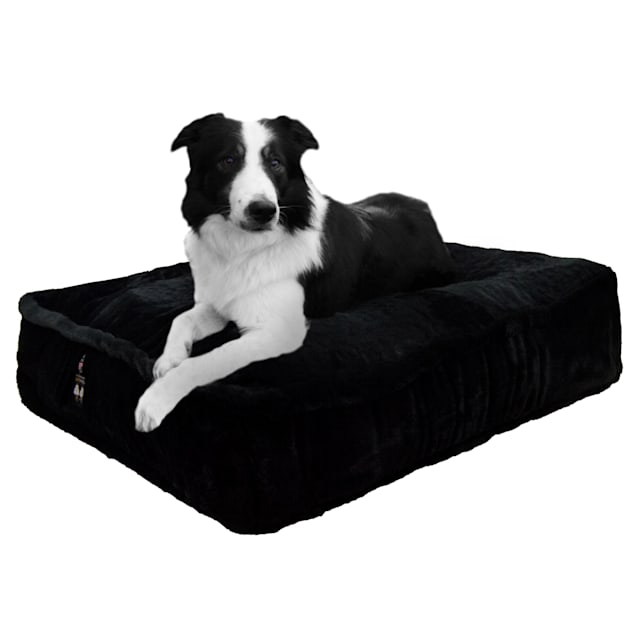 """Bessie and Barnie Black Panther Ultra Plush Faux Fur Luxury Shag Durable Sicilian Rectangle Pet Bed, 28"""" L X 24"""" W X 6"""" H - Carousel image #1"""