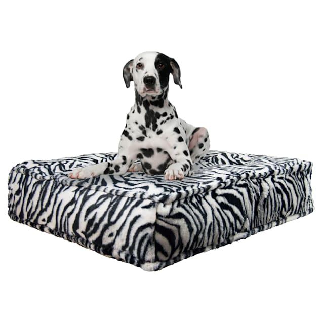 "Bessie and Barnie Zebra Ultra Plush Faux Fur Luxury Shag Durable Sicilian Rectangle Pet Bed, 28"" L X 24"" W X 6"" H - Carousel image #1"