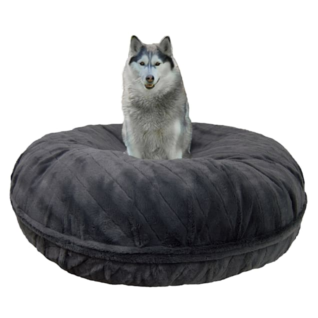 """Bessie and Barnie Signature Gravel Stone Luxury Extra Plush Faux Fur Bagel Pet Bed, 24"""" L X 24"""" W X 10"""" H - Carousel image #1"""