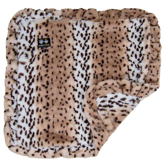 "Bessie and Barnie Aspen Snow Leopard Ultra Plush Faux Fur Pet Super Soft Reversible Blanket, 20"" L X 20"" W - Carousel image #1"