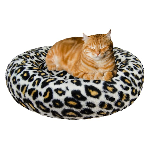 """Bessie and Barnie Ultra Plush Deluxe Comfort Cheetah Snuggle Pet Bed, 23"""" L X 23"""" W X 6"""" H - Carousel image #1"""