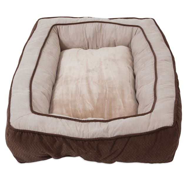 """Snoozzy Chocolate Chevron Chenille Bumper Bed for Dogs, 27"""" L X 36"""" W X 5"""" H - Carousel image #1"""