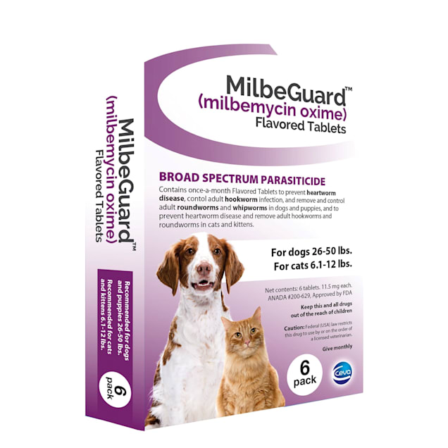 MilbeGuard Flavor Tabs 26 to 50 lb dog, 6.1 to 12 lb cat, 6 Count - Carousel image #1