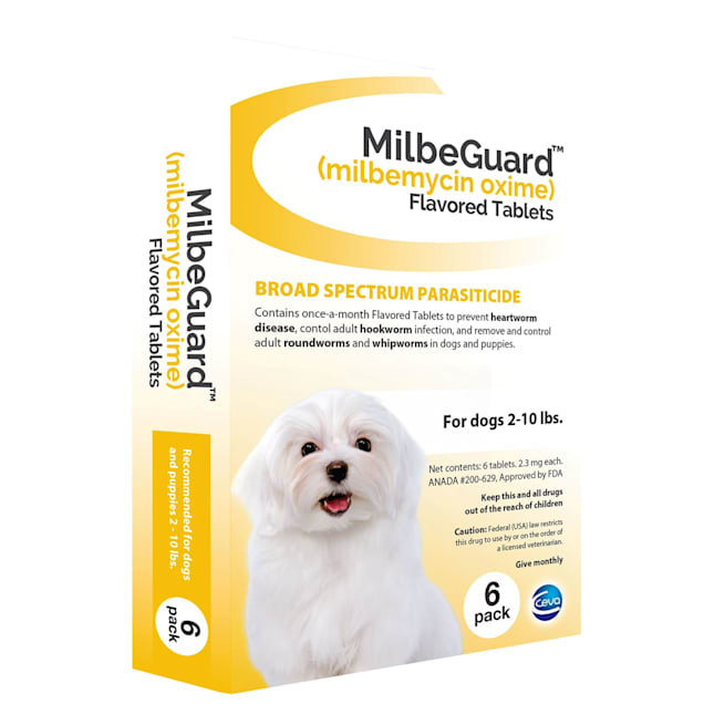 MilbeGuard Flavored Tablets for Dogs 2 to 10 lbs, 6 Month Supply - Carousel image #1