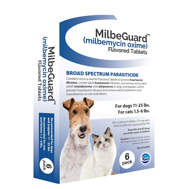 MilbeGuard Flavor Tabs 11 to 25 lb dog, 1.5 to 6 lb cat, 6 Count - Carousel image #1