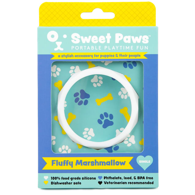 SWEET PAWS Wearable Fluffy Marshmallow Silicone Puppy Teether Chew Toy, Small - Carousel image #1
