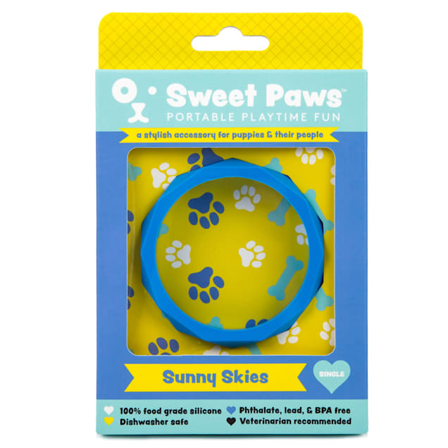 SWEET PAWS Wearable Sunny Skies Silicone Puppy Teether Chew Toy, Small - Carousel image #1