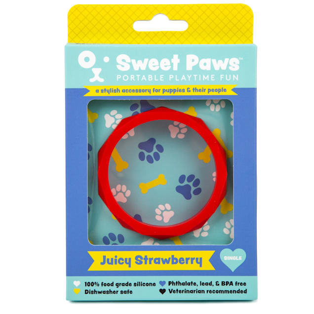 SWEET PAWS Wearable Juicy Strawberry Silicone Puppy Teether Chew Toy, Small - Carousel image #1