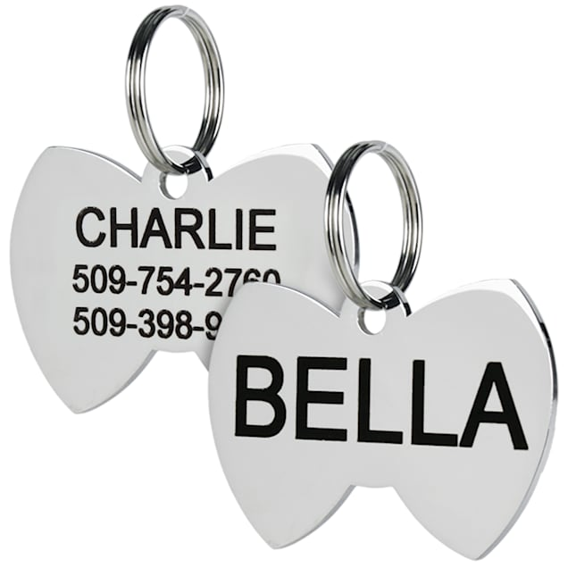GoTags Personalized Stainless Steel Bow Tie Shape Pet ID Tag with Engravement on both sides for Dogs and Cats, Small - Carousel image #1