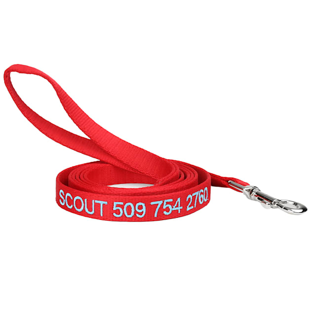 GoTags Personalized Red Dog Leash, Embroidered with Dog Name or Custom Text, Small - Carousel image #1