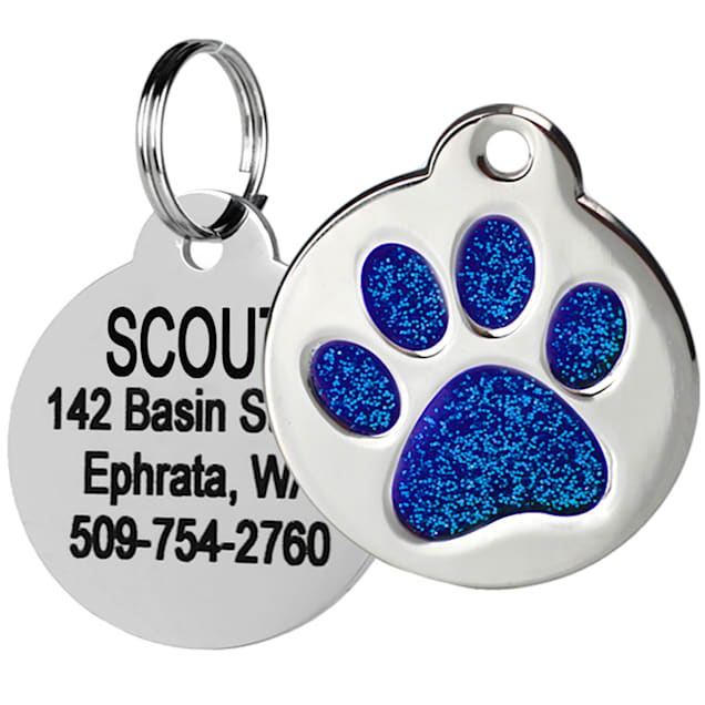 GoTags Personalized Glitter Blue Paw Print Stainless Steel Round Pet ID Tag for Dogs and Cats, Small - Carousel image #1