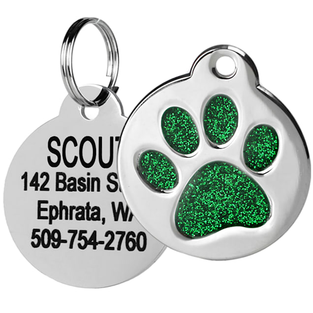 GoTags Personalized Glitter Green Paw Print Stainless Steel Round Pet ID Tag for Dogs and Cats, Small - Carousel image #1