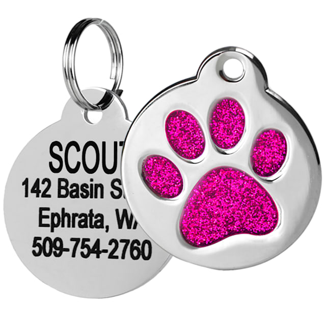 GoTags Personalized Glitter Pink Paw Print Stainless Steel Round Pet ID Tag for Dogs and Cats, Small - Carousel image #1