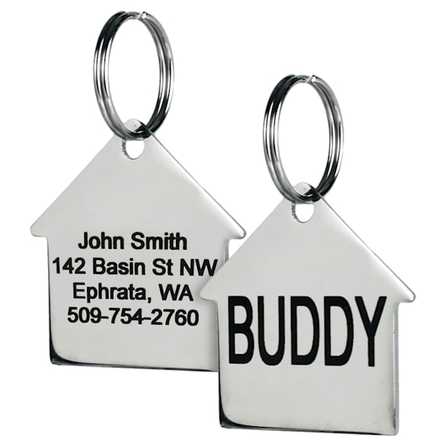 GoTags Personalized Stainless Steel House Shape Pet ID Tag with Engravement on Both Sides for Dogs and Cats, Small - Carousel image #1