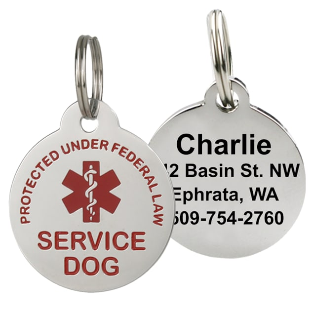 GoTags Personalized Stainless Steel Round Service Dog Pet ID Tag for Dogs and Cats, Small - Carousel image #1